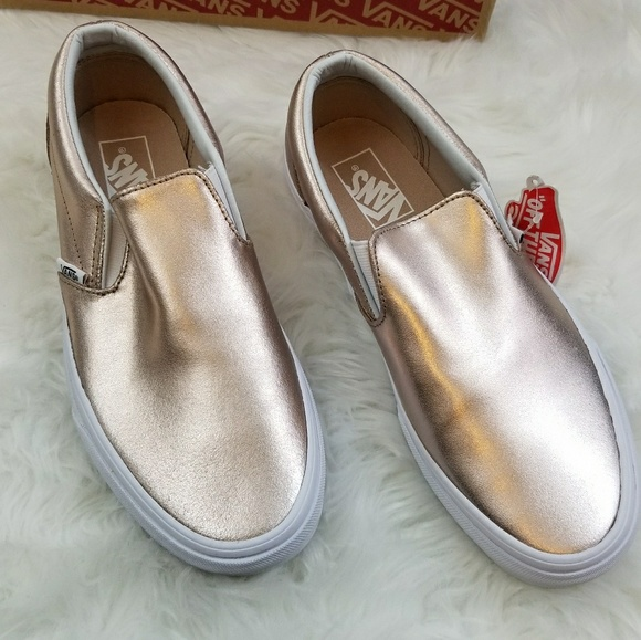 3df9a17a5a4 Vans Classic Slip On Metallic Rose Gold Leather